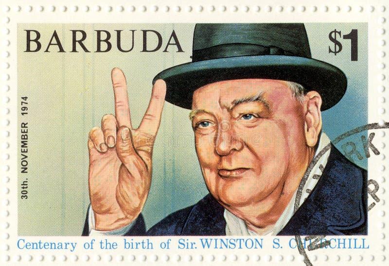 Sello con Winston Churchill fotografía de archivo libre de regalías