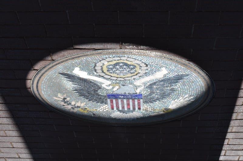 Sello conmemorativo del monumento del ` s del veterano en el himno, Arizona fotos de archivo