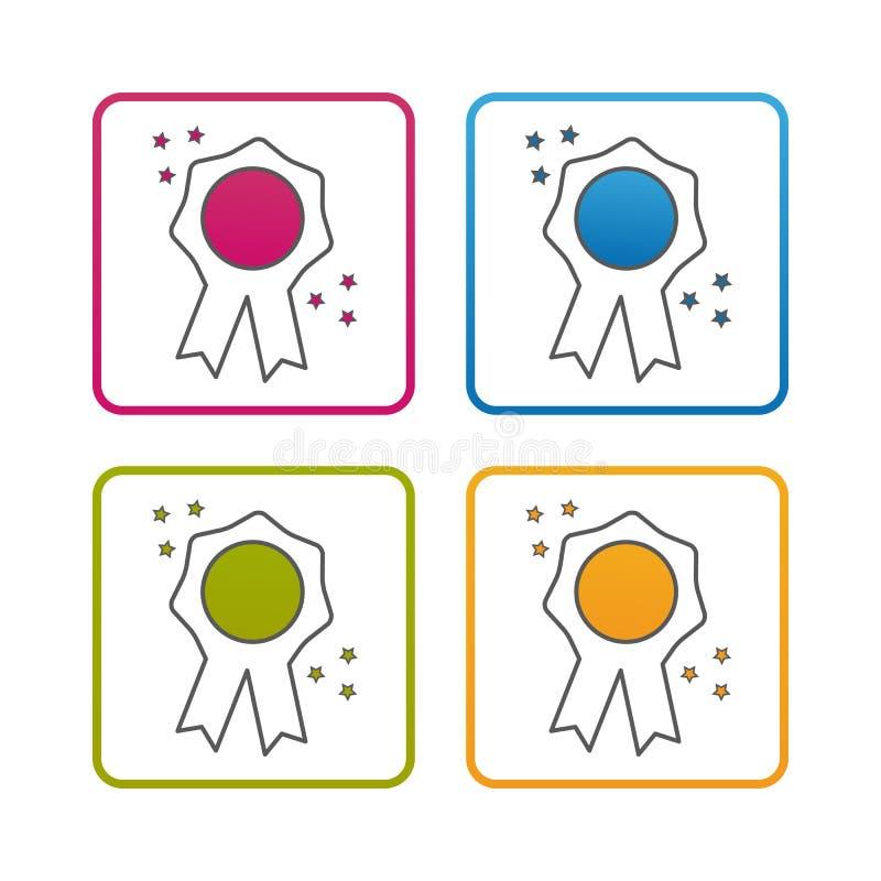 Sello de calidad - esquema diseñó el icono - movimiento Editable - ejemplo colorido del vector - aislado en el fondo blanco libre illustration