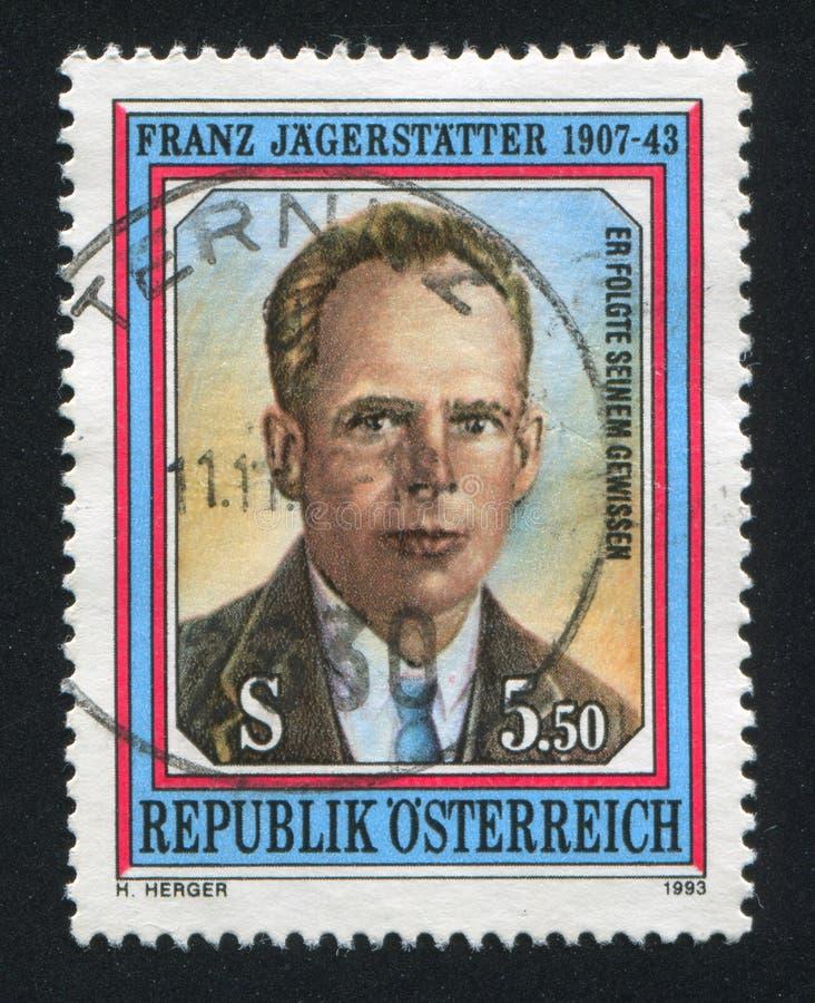 Sello de Franz Jagerstatter Austria fotos de archivo libres de regalías
