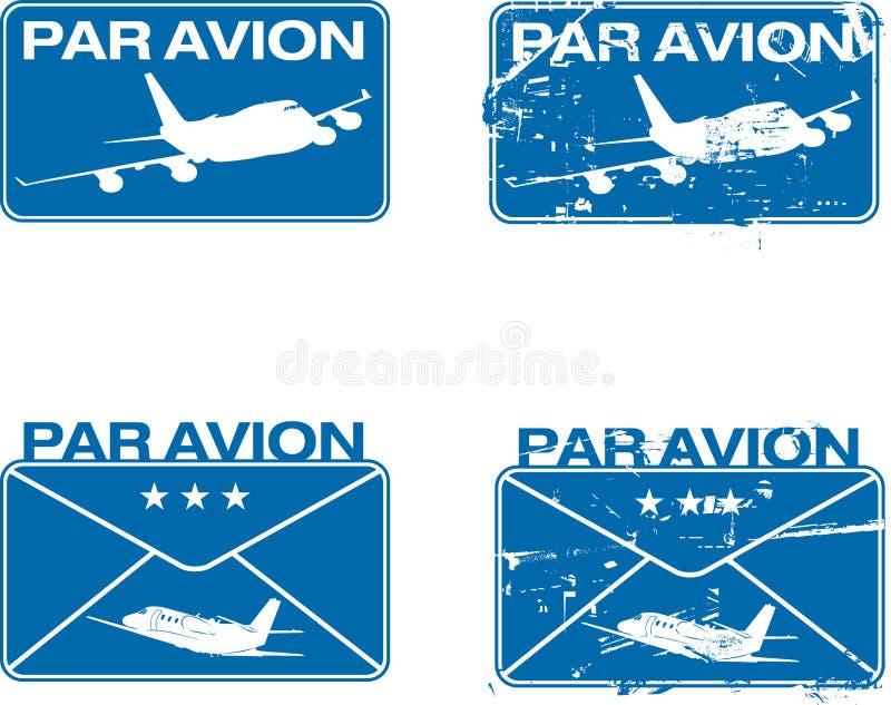 Sello de goma 03 de Avion de la igualdad ilustración del vector