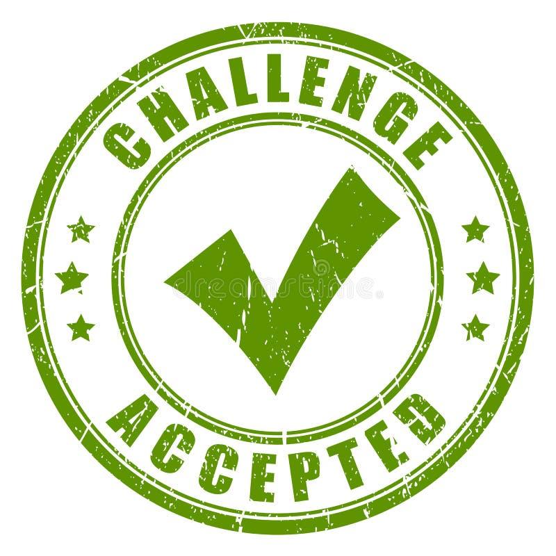 Sello de goma aceptado desafío ilustración del vector