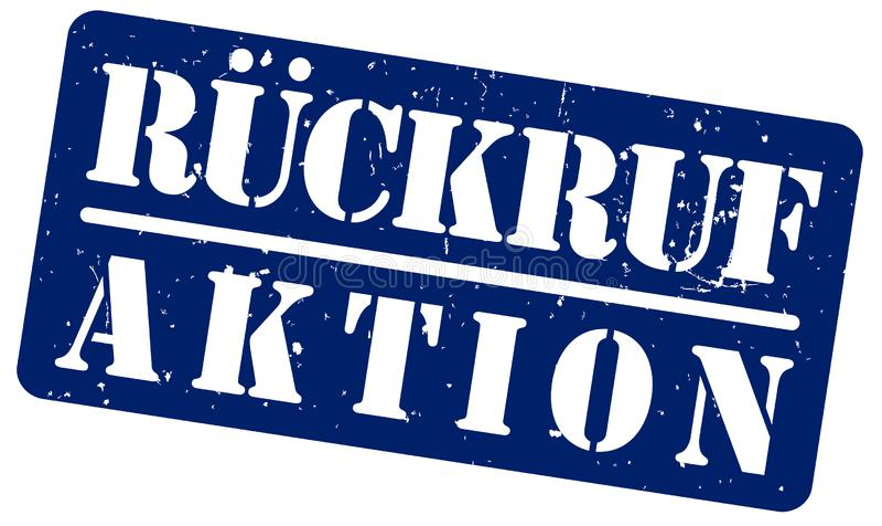 Sello de goma azul con la palabra RUCKRUFAKTION, programa de la retirada de productos en alemán, aislada en el fondo blanco libre illustration