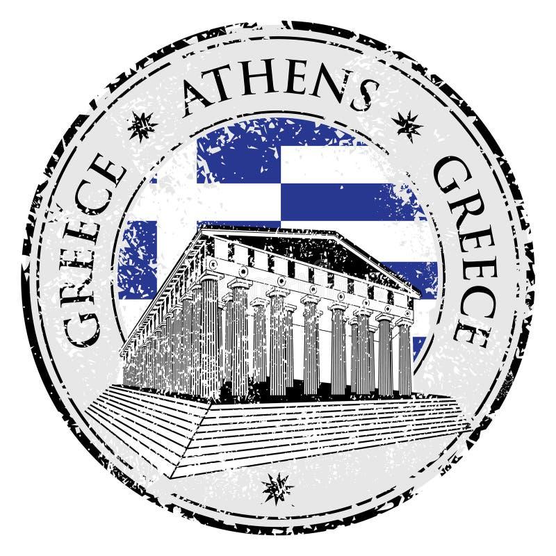 Sello de goma azul del grunge con el Parthenon libre illustration