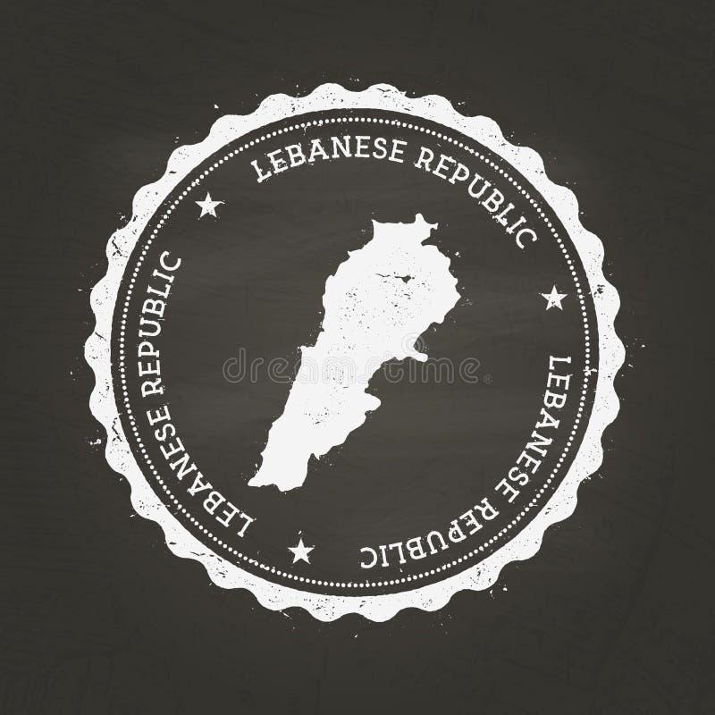 Sello de goma blanco de la textura de la tiza con el libanés stock de ilustración