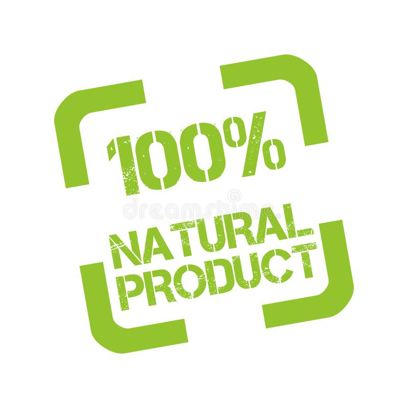 Sello de goma con el producto natural del texto el 100% libre illustration