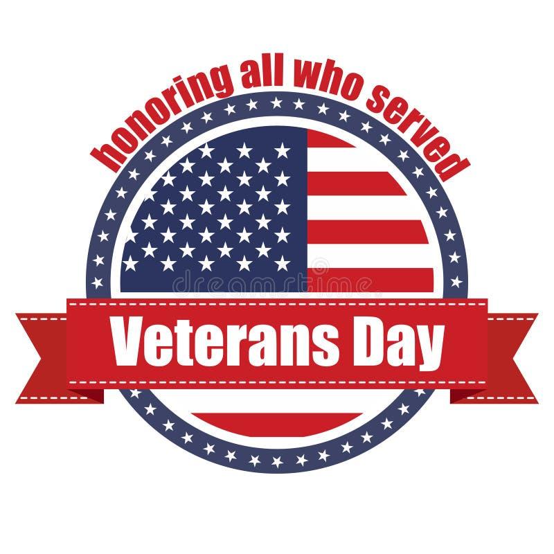 Sello de goma con la cinta roja con el día de veteranos del texto ilustración del vector
