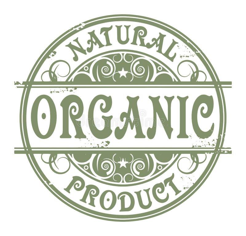Sello de goma con las palabras orgánicas, producto natural del Grunge stock de ilustración