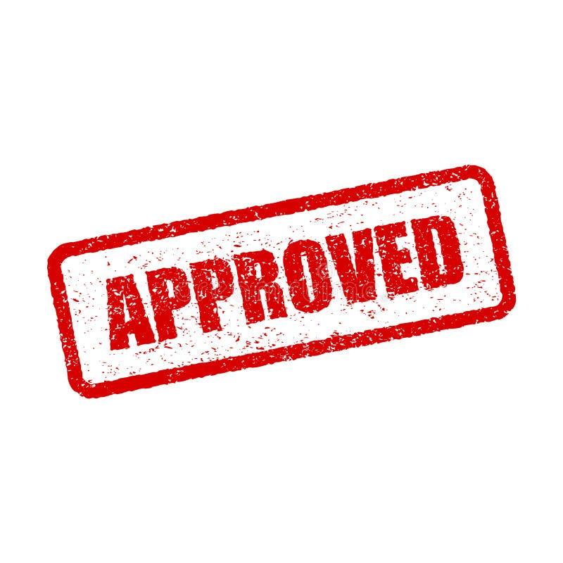 Sello de goma cuadrado aprobado rojo del sello del Grunge en el fondo blanco stock de ilustración