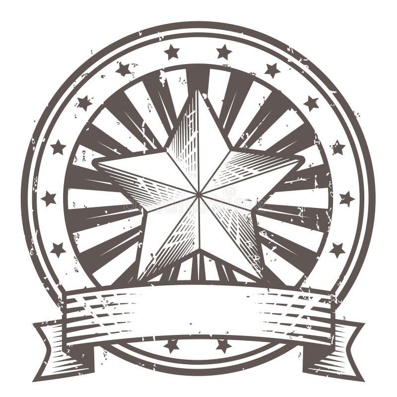 Sello de goma de Grunge con la estrella y la cinta stock de ilustración