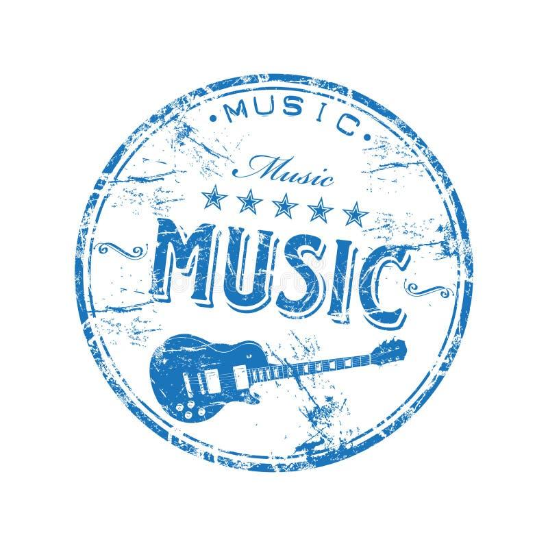 Sello de goma de la música ilustración del vector