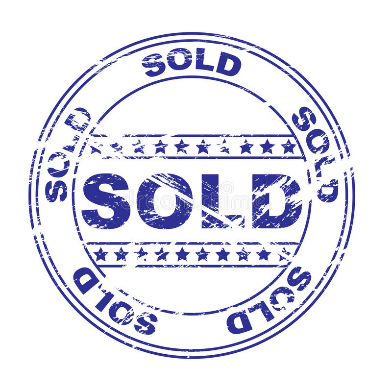 Sello de goma de la tinta: vendido (vector) stock de ilustración