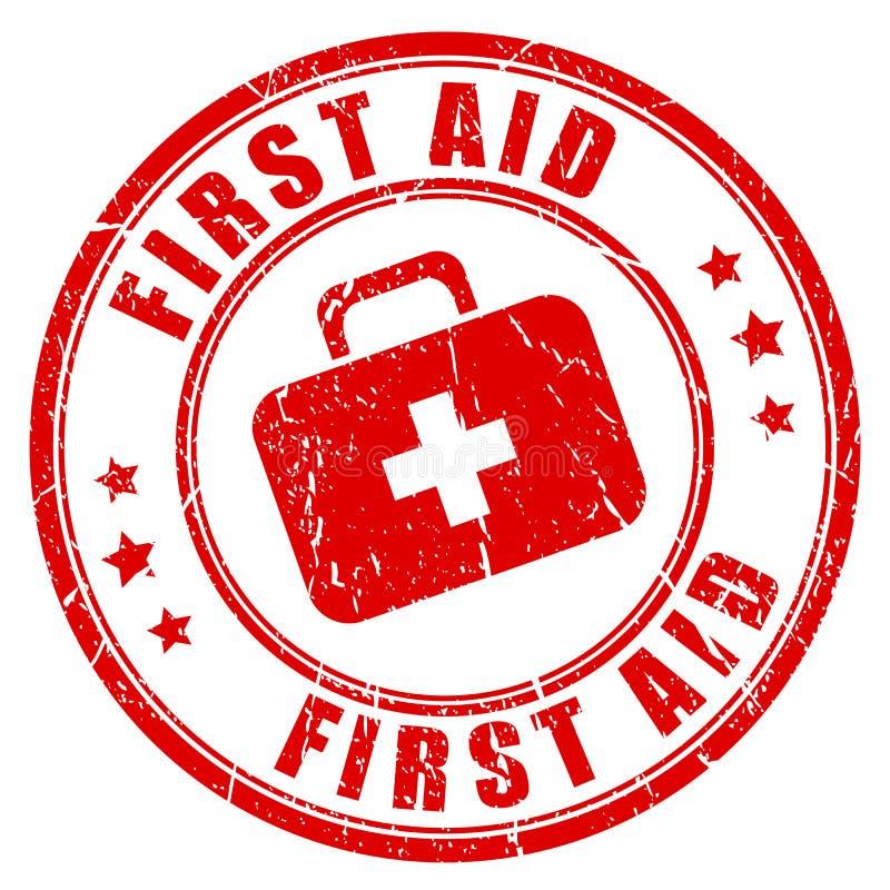 Sello de goma de los primeros auxilios stock de ilustración