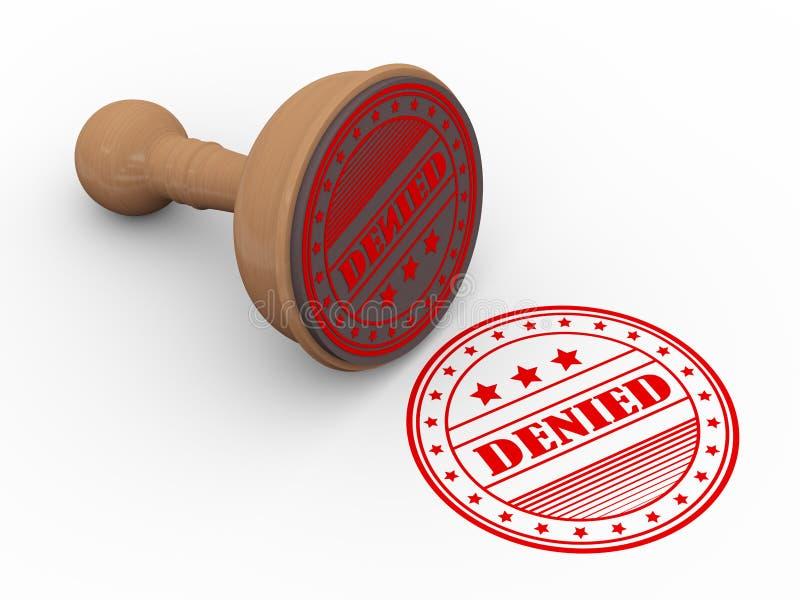 sello de goma de madera 3d negado stock de ilustración