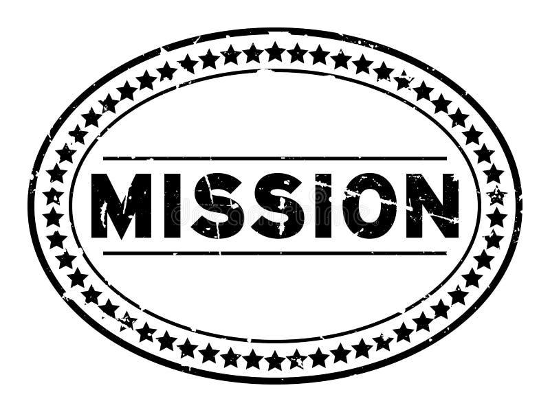 Sello de goma del sello del óvalo de la palabra de la misión del Grunge en el fondo blanco libre illustration