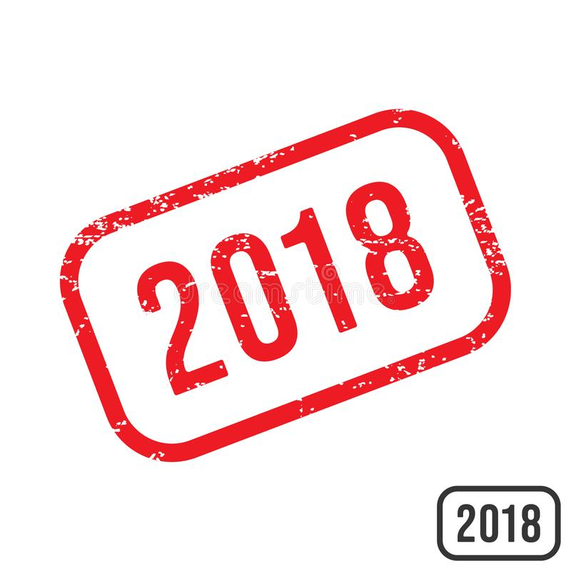 Sello de goma del Año Nuevo 2018 con diseño de la textura del grunge ilustración del vector
