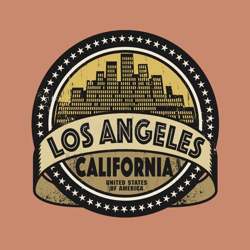 Sello de goma del Grunge con el nombre de California, Los Ángeles stock de ilustración