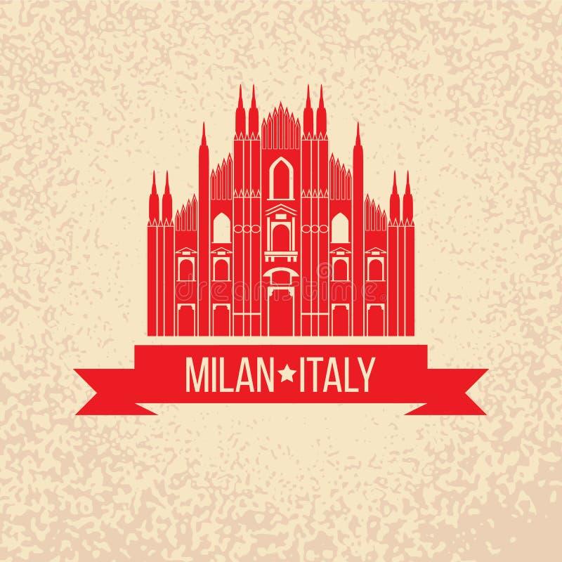 Sello de goma del Grunge con el símbolo de Milán, Italia libre illustration