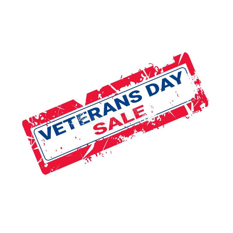 Sello de goma del Grunge con el texto de la venta del día de los veteranos en el fondo blanco stock de ilustración