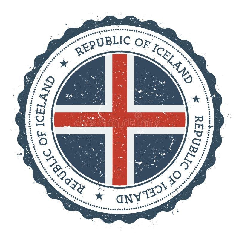 Sello de goma del Grunge con la bandera de Islandia ilustración del vector