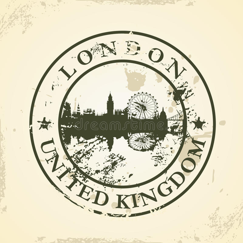 Sello de goma del Grunge con Londres, Reino Unido ilustración del vector