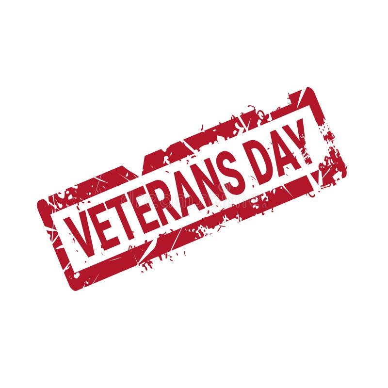 Sello de goma del Grunge del día de los veteranos en el fondo blanco, insignia retra del día de fiesta de los E.E.U.U. ilustración del vector