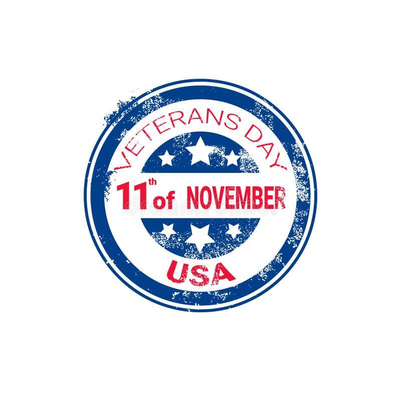 Sello de goma del Grunge del día de los veteranos en el fondo blanco, insignia retra del día de fiesta de los E.E.U.U. libre illustration