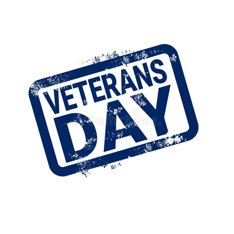 Sello de goma del Grunge del día de los veteranos en el fondo blanco, insignia retra del día de fiesta de los E.E.U.U. stock de ilustración
