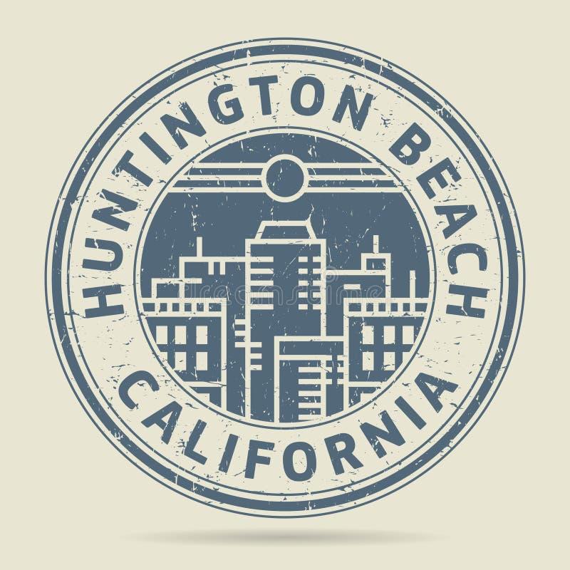 Sello de goma o etiqueta con Huntington Beach del texto, Califor del Grunge ilustración del vector