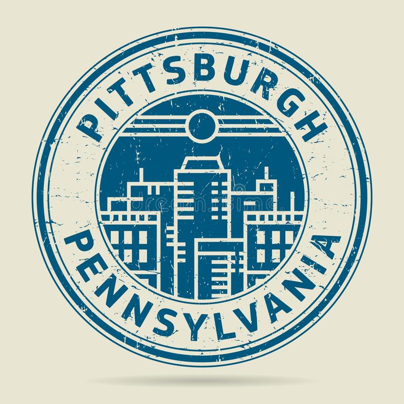 Sello de goma o etiqueta del Grunge con el texto Pittsburgh, Pennsylvania stock de ilustración