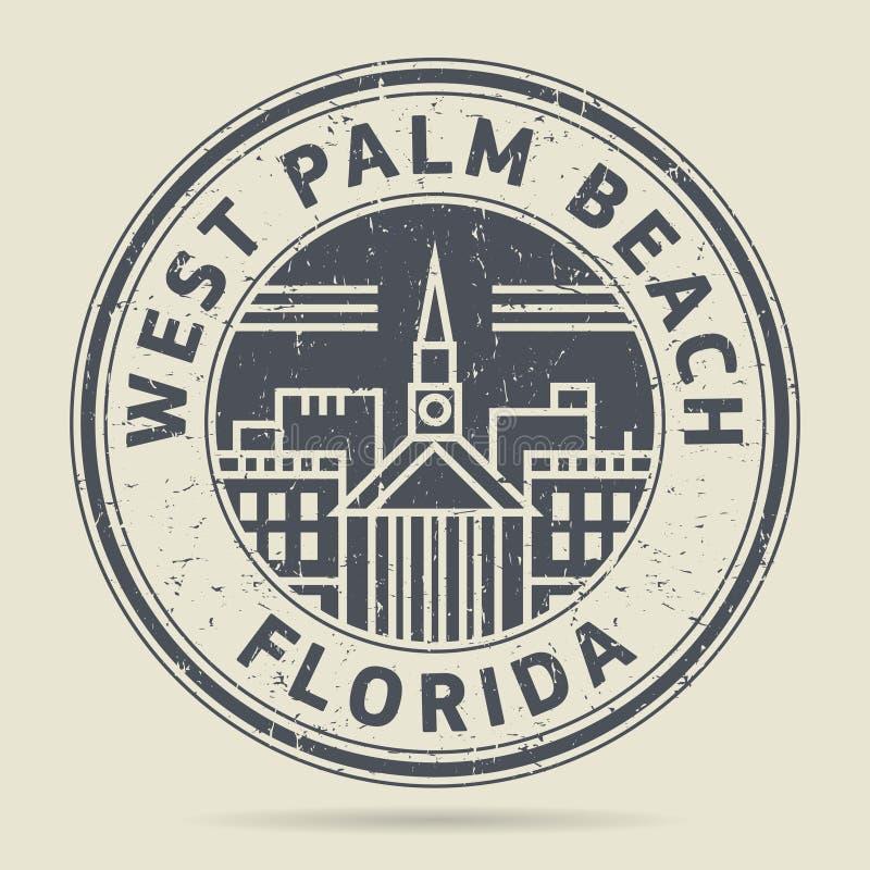 Sello de goma o etiqueta del Grunge con el texto West Palm Beach, la Florida libre illustration