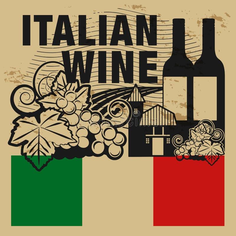 Sello de goma o etiqueta del Grunge con el vino del italiano de las palabras ilustración del vector