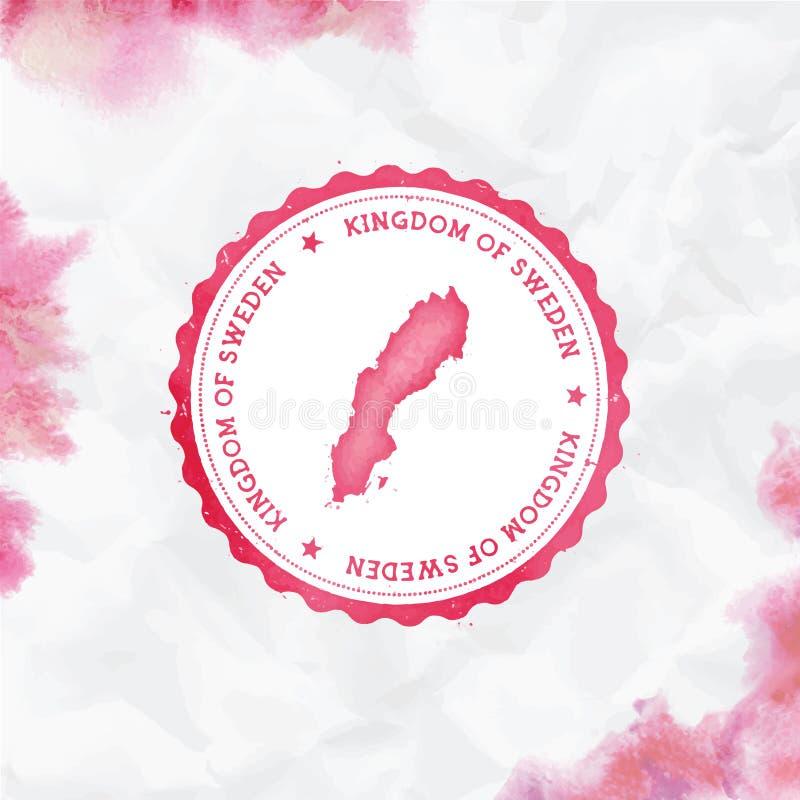 Sello de goma redondo de la acuarela de Suecia con el país libre illustration