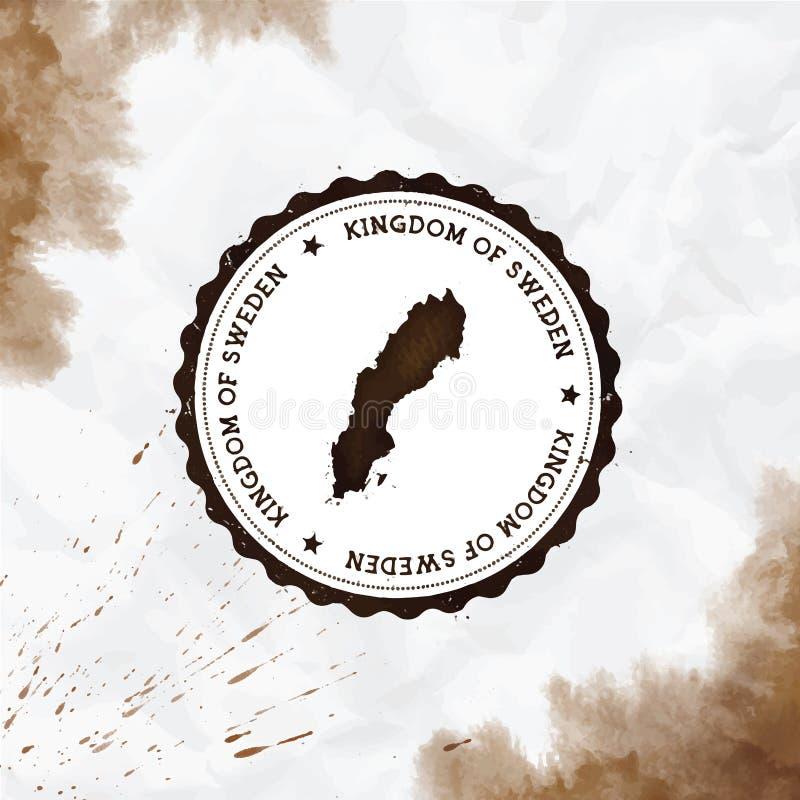 Sello de goma redondo de la acuarela de Suecia con el pa?s libre illustration