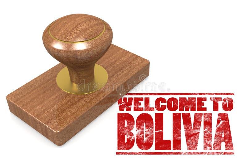 Sello de goma rojo con la recepción a Bolivia libre illustration