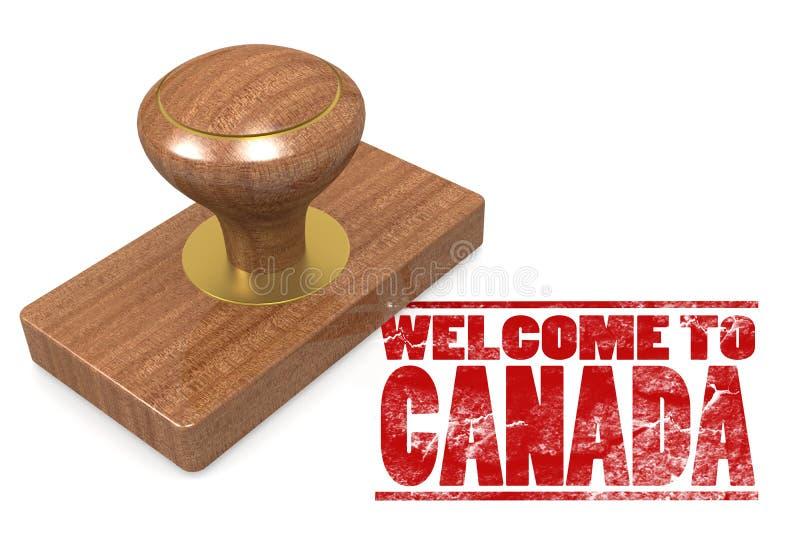 Sello de goma rojo con la recepción a Canadá ilustración del vector