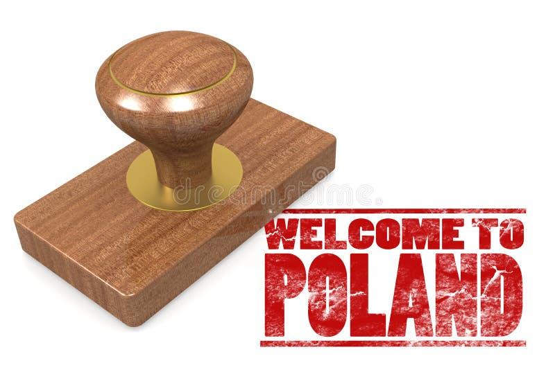 Sello de goma rojo con la recepción a Polonia stock de ilustración