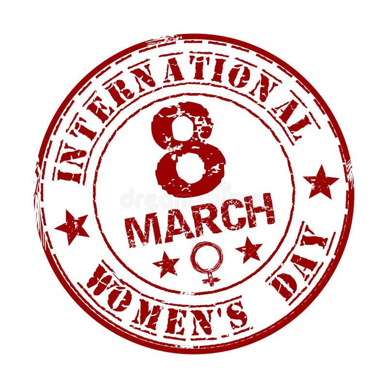 Sello de goma rojo del grunge con el día para mujer internacional del texto escrito dentro 8 de marzo ilustración del vector