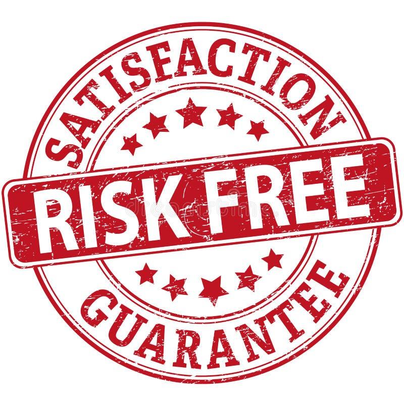 Sello de goma rojo de la web de la satisfacción garantizada libre del riesgo con las estrellas stock de ilustración