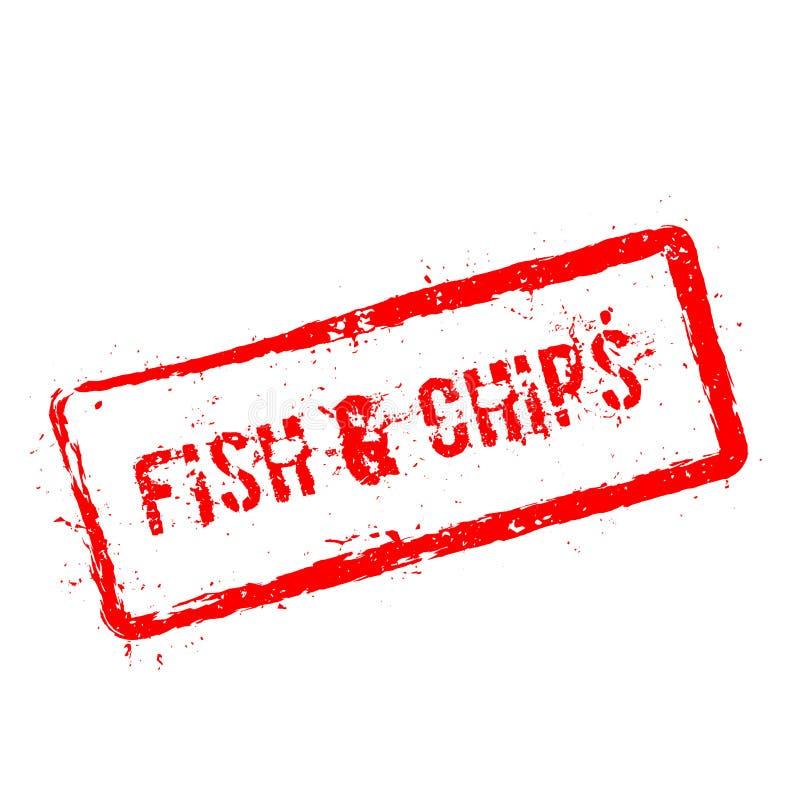 Sello de goma rojo de los pescados y de los microprocesadores aislado en blanco stock de ilustración