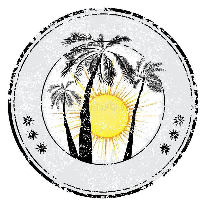 Sello de goma tropical del grunge con el espacio para su texto, ejemplo del sol de la palma del vector imagen de archivo