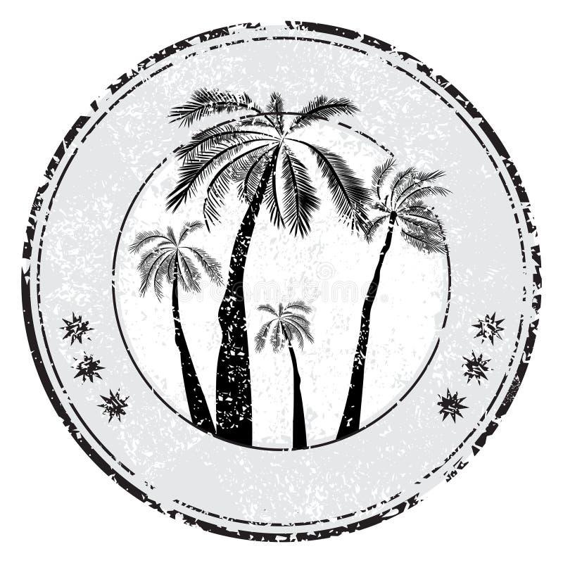 Sello de goma tropical del grunge con la palma y espacio para su texto en blanco, ejemplo del vector - vector imagen de archivo libre de regalías