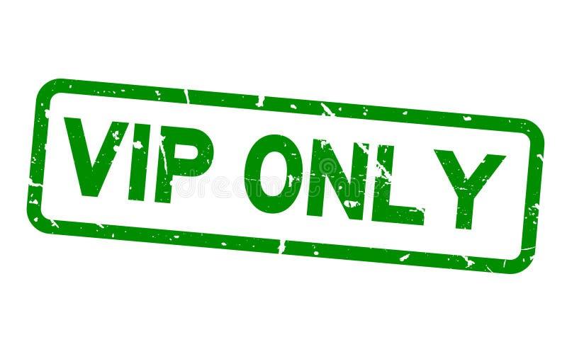 Sello de goma verde del sello del cuadrado de palabra del VIP del Grunge único en el fondo blanco stock de ilustración