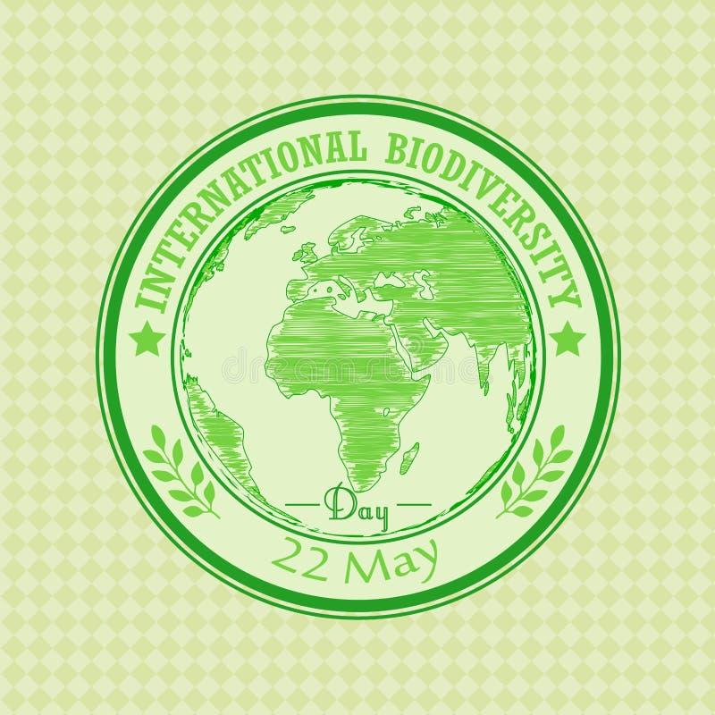 Sello de goma verde del grunge con texto biodiversidad día el 22 de mayo internacional escrito dentro libre illustration