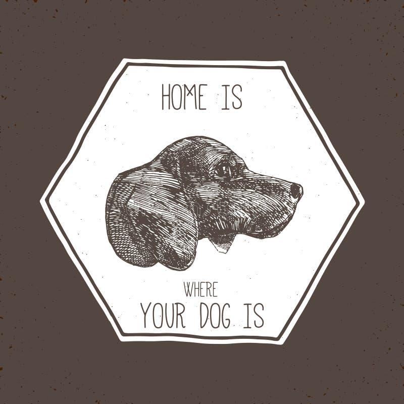Sello de la cabeza de perro stock de ilustración
