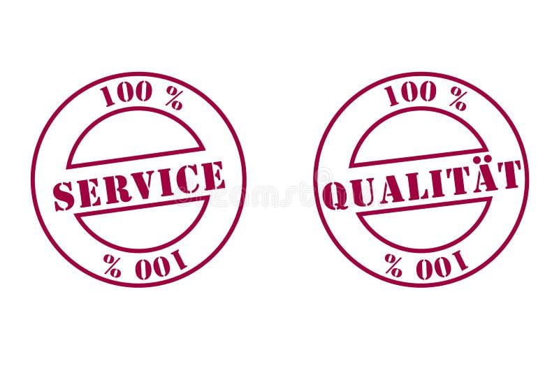 Sello de la calidad y del servicio stock de ilustración