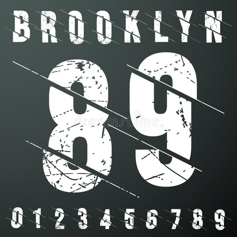Sello de la camiseta del vintage de los números de Brooklyn stock de ilustración