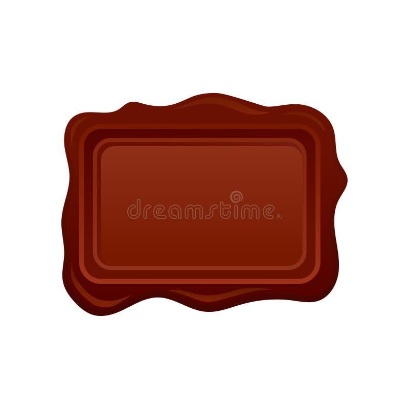 Sello de la cera de Brown en la forma de rectángulo Viejo sello de envío Elemento del vector para el certificado o el documento ilustración del vector
