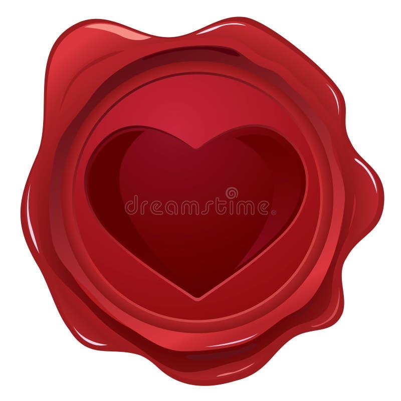 Sello de la cera con el sello del corazón ilustración del vector