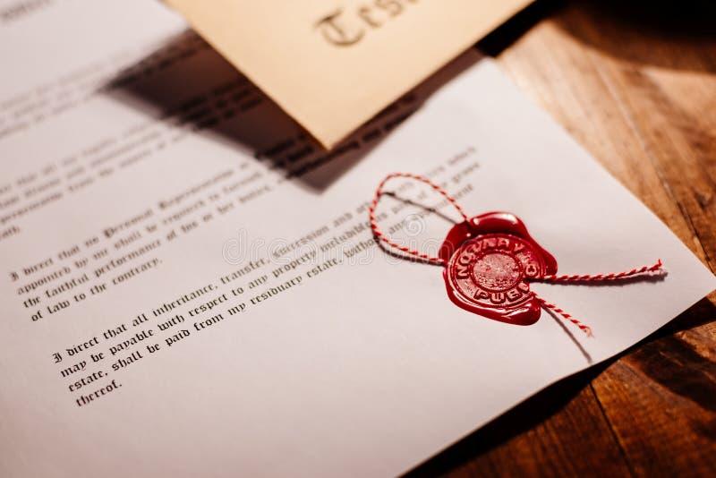 Sello de la cera del notario público - sello imagen de archivo